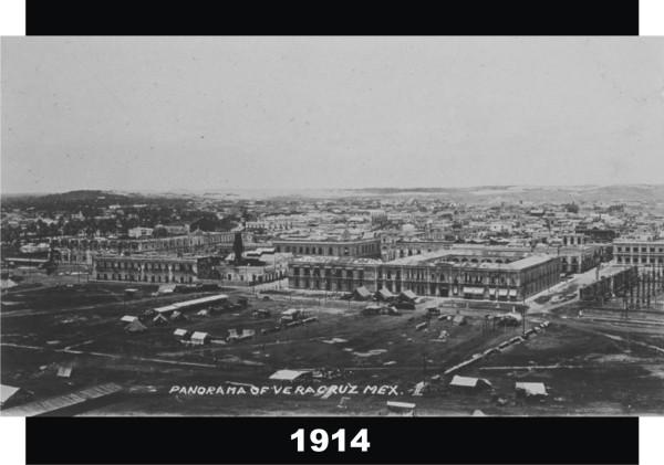 Panorámica de Veracruz en 1914 vista de el Faro. A la derecha esta la Academia Naval y enfrente a ella un campamento militar de E.U.  Fuente de foto: Getty Museum