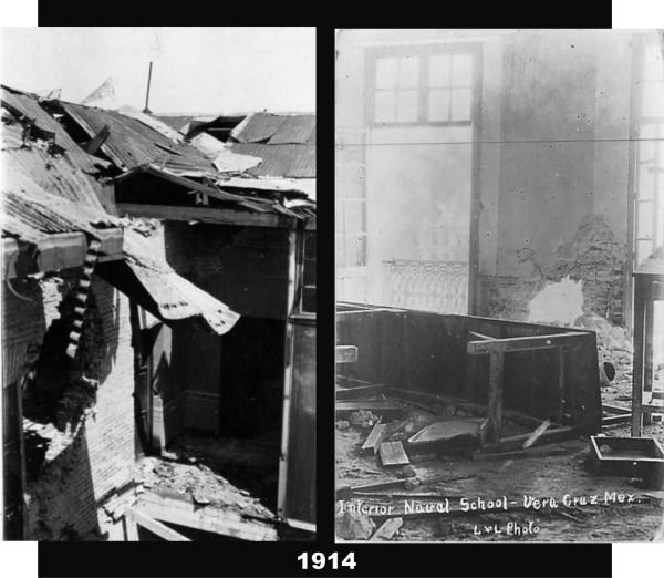La foto de la izquierda muestra los daños el segundo nivel del patio, con la cubierta de lámina destrozada. La foto de la derecha corresponde a una sala del segundo nivel del lado izquierdo de la Escual Naval.