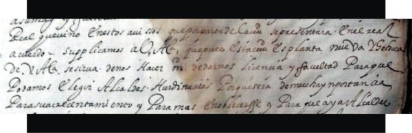 Fragmento de la carta del Cabildo en donde reconoce al virrey conde de Monterrey como el que la mando hacer.