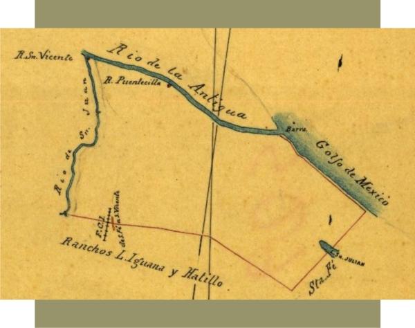 Plano del rancho San Vicente elaborado en 1896. Fuente: Mapoteca Orozco y Berra.