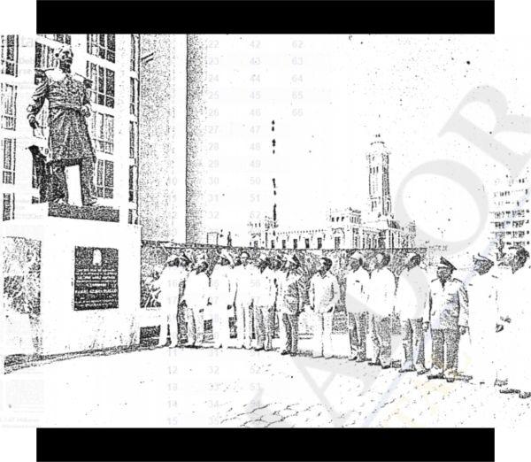 21 de abril de 1979: Inauguración del monumento a los héroes navales de 1914, con asistencia del presidente José López Portillo. Fuente de foto: Periódico El Informador, 22 de abril de 1979, p. 1.
