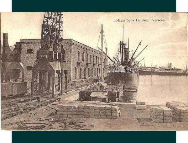 Núm. 17.- Bodegas de la Terminal y muelle Porfirio Díaz o Núm. 4. Fecha de matasellos: 17 de diciembre de 1913. Editada por la Papelería Blanco y Negro.